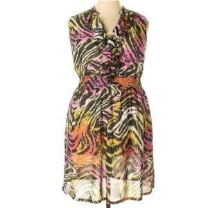 🆕Lane Bryant Animal Print Ruffle Neck Dress